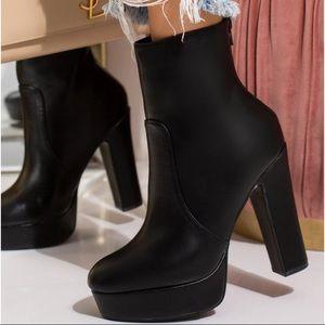 Platform black ankle boots